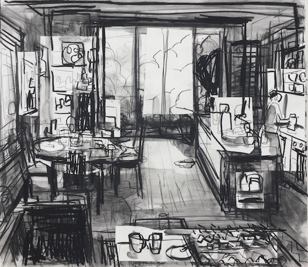 John Bokor In the Kitchen charcoal on paper 2016