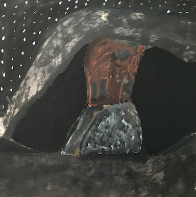 Hadley's Art Prize 2018 Black Emu Evening Hillside 65x65cm