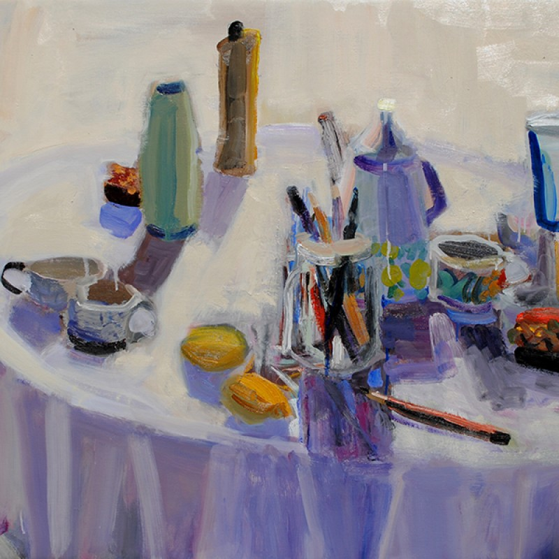 White Tablecloth and Pen Jar
