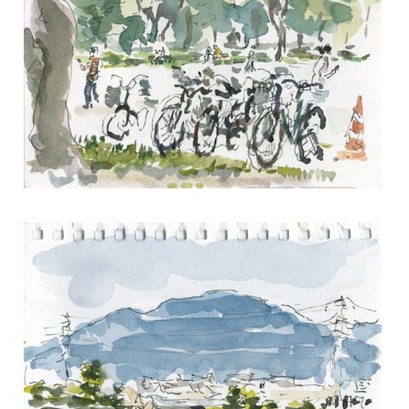 Bikes and mountain, Saga [diptych]
