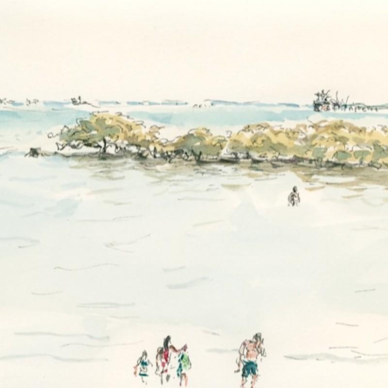 Family bathing Town Beach