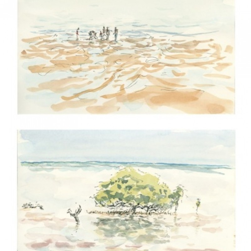 Low tide, Town Beach, Broome [diptych]