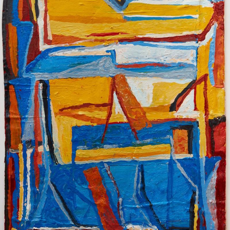 Upright, blue & yellow