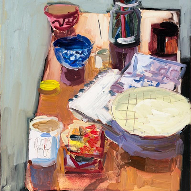 Still life with pen jar