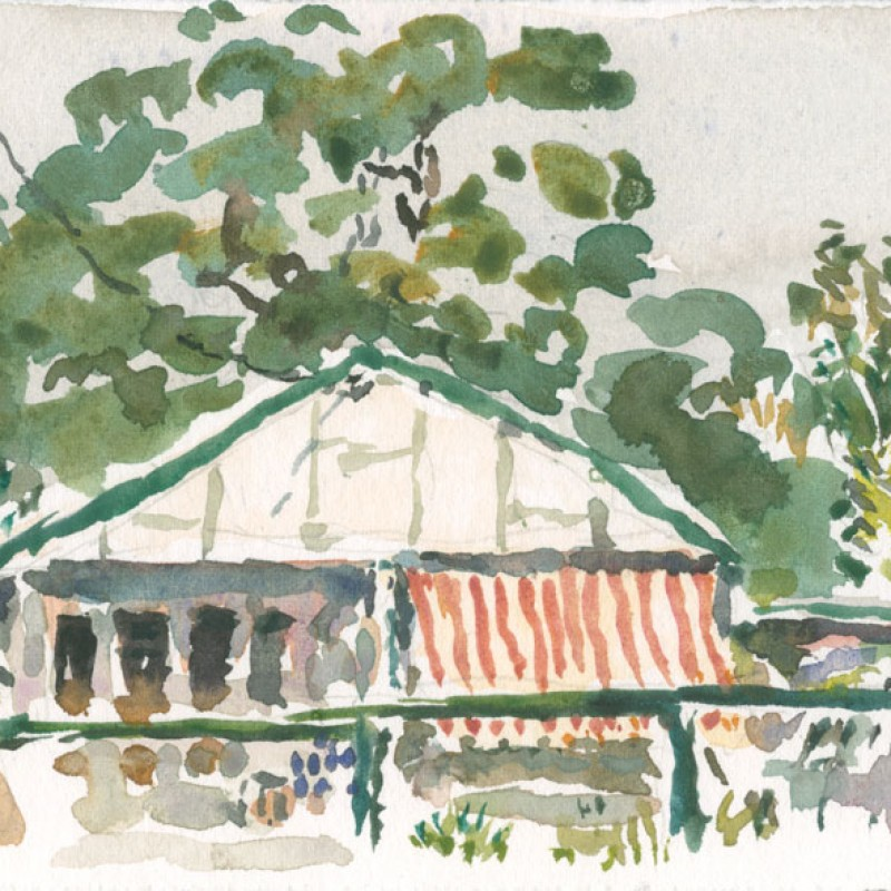 Cottage with striped awning, Bundeena