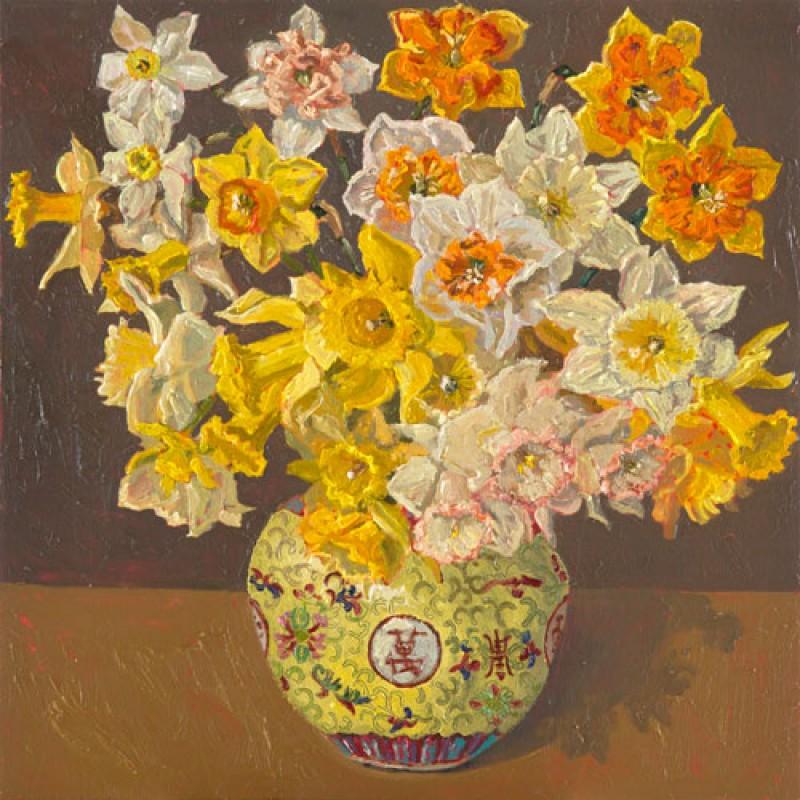 Daffodils, ginger pot