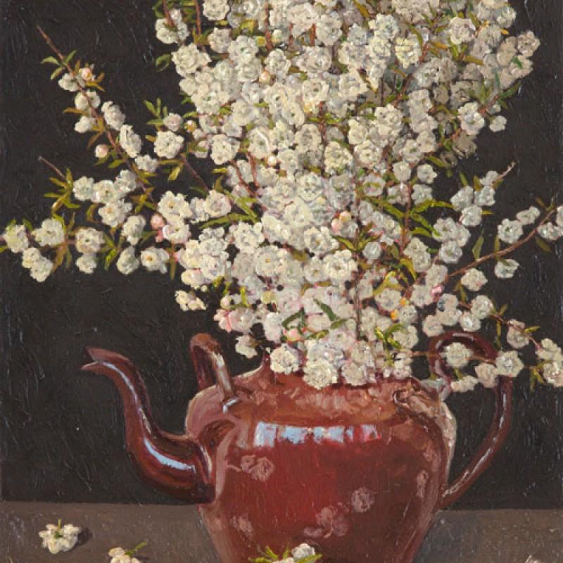 Double almond blossom in tea pot