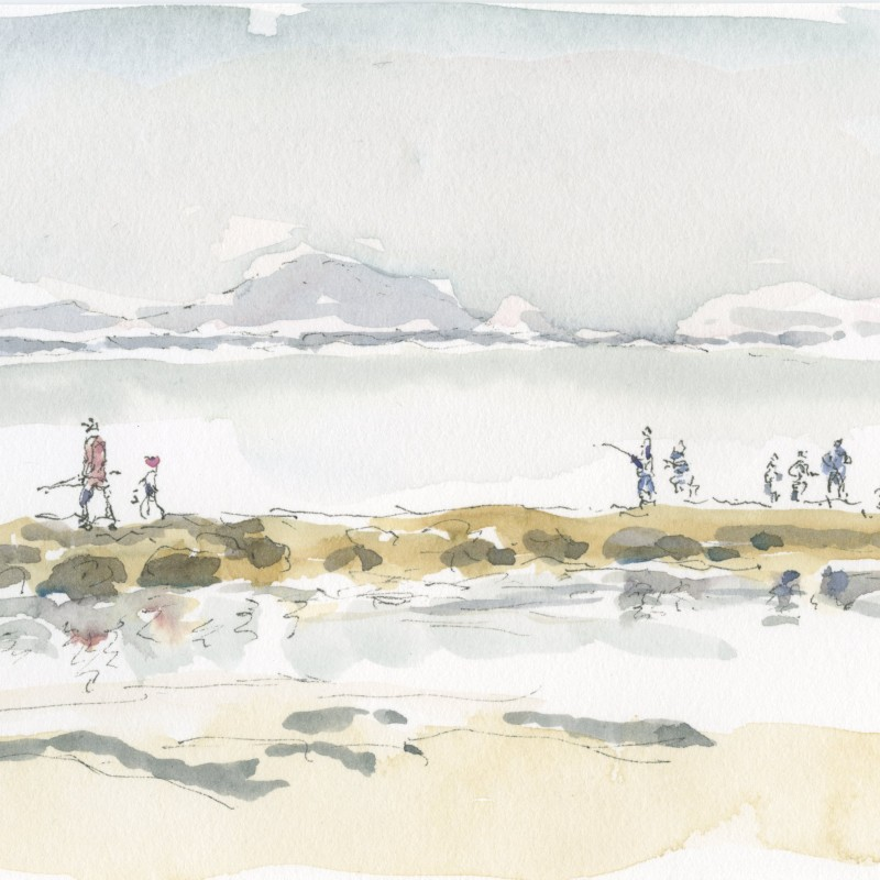 Families fishing, breakwater Currarong
