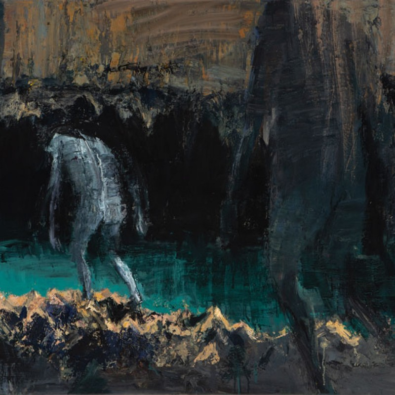 Two figures entering cave