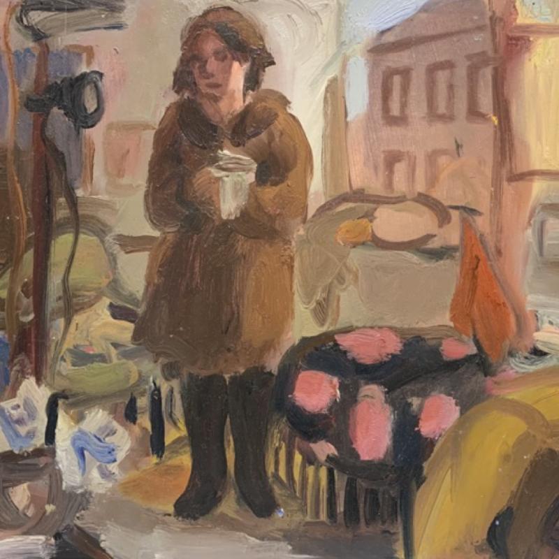 Tania in brown coat