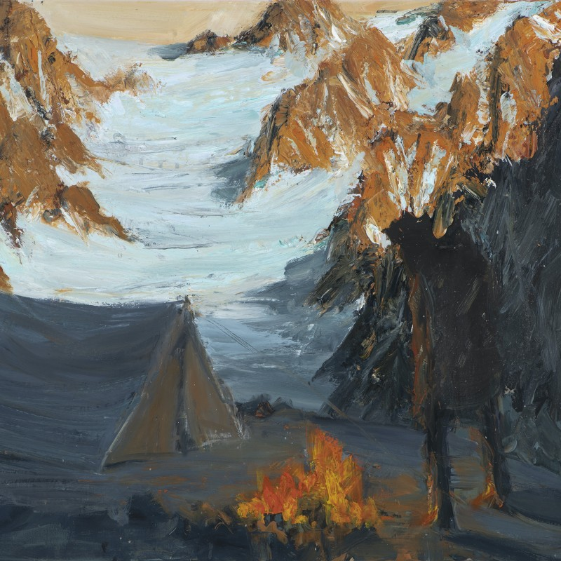 Tent below glacier