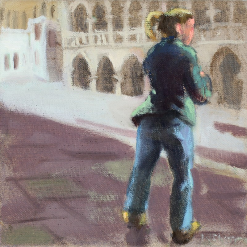 Girl in Green on the Piazza