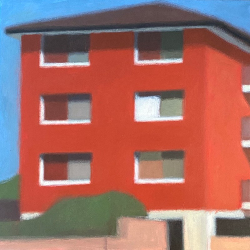Red Block with White Curtain